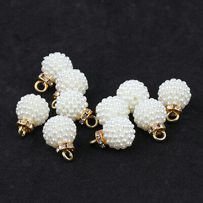 10x Flower Rhinestone Charms Pendants for DIY Necklace Jewelry Findings