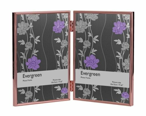 """Evergreen Thin Edge Double Frame for Two 5x7/"""" Picture//Photo Frame Rose Gold"""