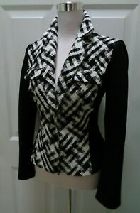 WHITE-HOUSE-BLACK-MARKET-NWOT-BLACK-amp-IVORY-STRETCH-PANEL-BLAZER-JACKET-SIZE-8