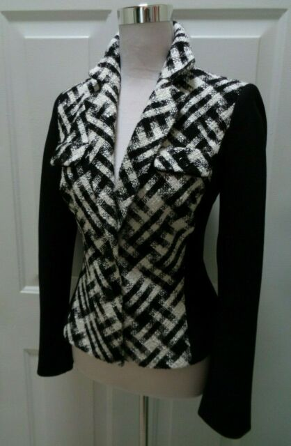 WHITE HOUSE BLACK MARKET NWOT BLACK & IVORY STRETCH PANEL BLAZER JACKET SIZE 2