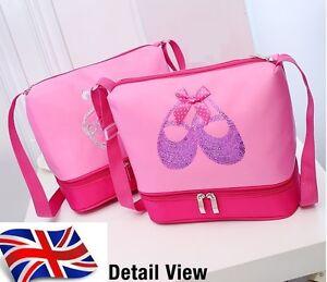 UK-Stock-NEW-Sale-Girls-Kids-BALLET-BAG-shoulder-Dance-Bag-Bookbag-Sequin