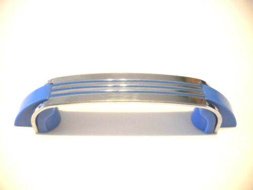 Vintage Chrome Drawer Pulls BLUE Lines Plastic Ends Cabinet Door Handles Amerock