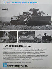6/1982 PUB EMERSON DEFENSE SYSTEMS TUA TOW UNDER ARMOR BLINDE ORIGINAL FRENCH AD