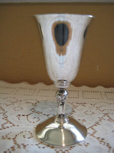 Vintage-Plator-Silver-Plate-Wine-Goblet-Made-In-Spain-5-034-Tall