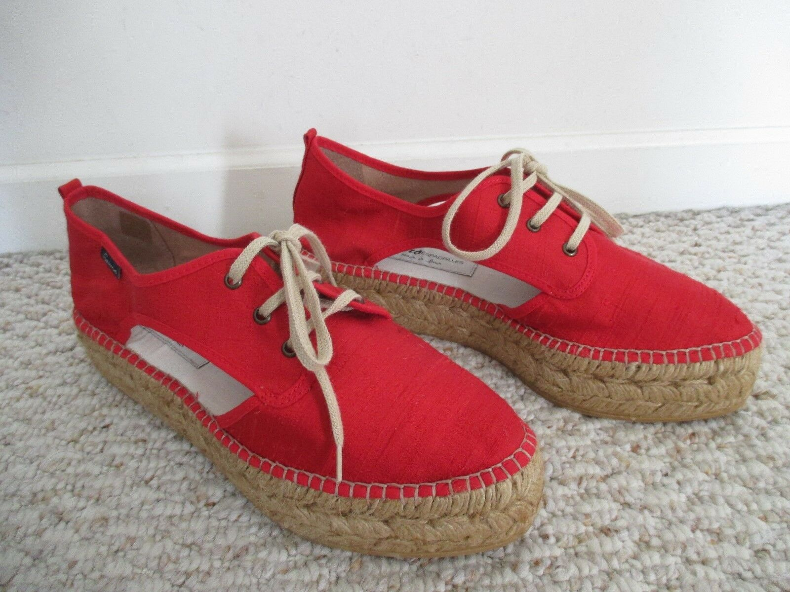 Gaimo Espadrille ROT ROT ROT Lace-Up Schuhes Größe 40 NEW Made in Spain bc8705