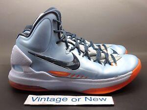 best service 9cba6 a201b Image is loading Nike-KD-V-5-Ice-Blue-Total-Orange-