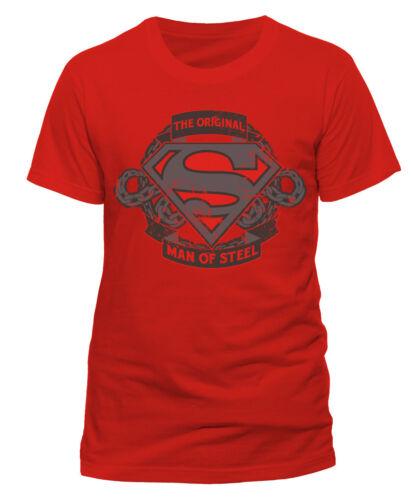 Superman logo the original man of steel DC Comics hommes men t-shirt rouge red