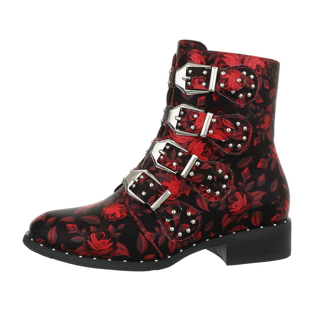 BIKER BOOTS STIEFELETTEN DAMENSCHUHE DESIGNER NEU Gr 36 red black 1199