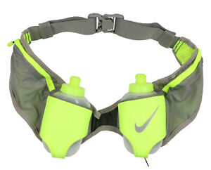 NIKE-Double-Flask-Hydration-Running-Belt-Gray-10-oz-Bottles-Marathon-Waistpack