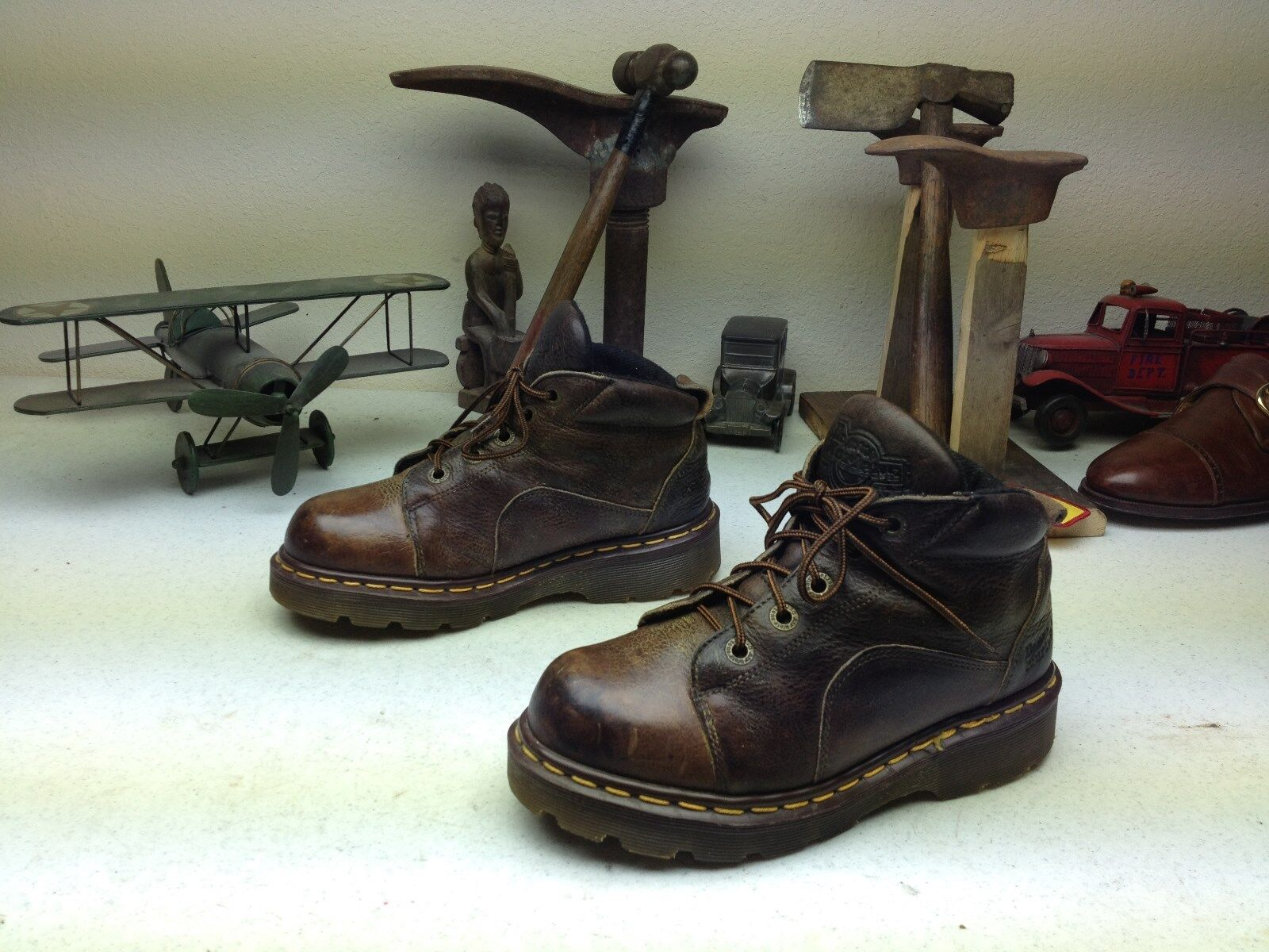 MADE IN ENGLAND BROWN DISTRESSED DR MARTENS LEATHER LACE UP BOOTS SIZE 5-5.5M
