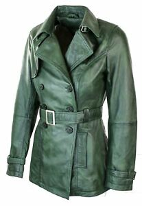 Leather Jacket Biker Design Coat Women's Green Vintage Superior Retro wqEptnTx6