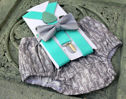 1st Birthday boy cake smash diaper cover bow tie boy clothes Gray arrows mint