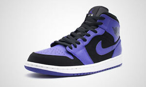 17f43bc280e761 AIR JORDAN 1 MID BLACK DARK CONCORD WHITE 554724 051 MENS US SIZES ...