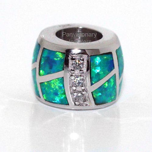 Silver Opal Bead European Charm Pendant CZ 925 Sterling Lab Created Green w Fire