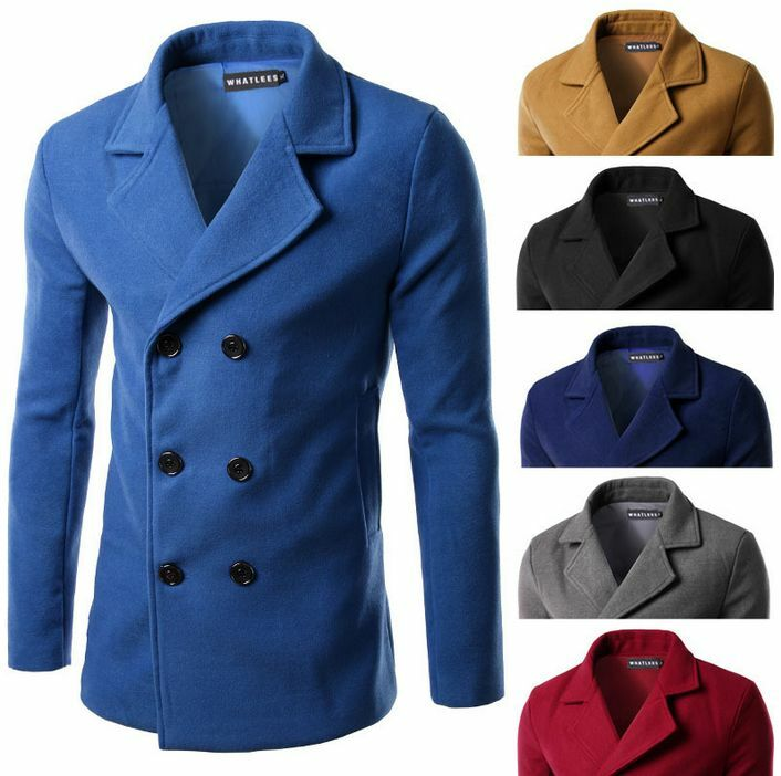 Retro Mens Lapel Trench Double Breasted Coat Windbreaker Trench Lapel 5 colors 3