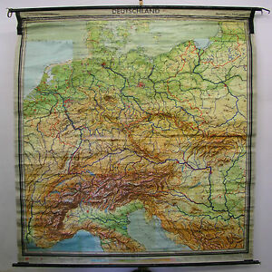 Tarjeta-de-Pared-la-Escuela-Mapa-Alemania-BRD-DDR-Alpes-211x222cm-1960