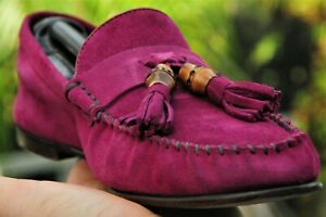 dbc166fdafb1 GUCCI Men s Red Wine purple red Bamboo Suede loafers shoes Italy Sz ...