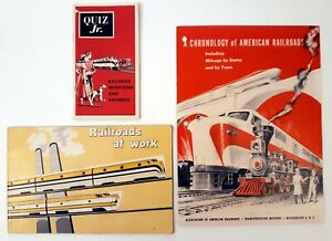 Railroads-At-Work-Chronology-Of-American-Railroads-and-Quiz-Jr-Lot-of-3-Booklets
