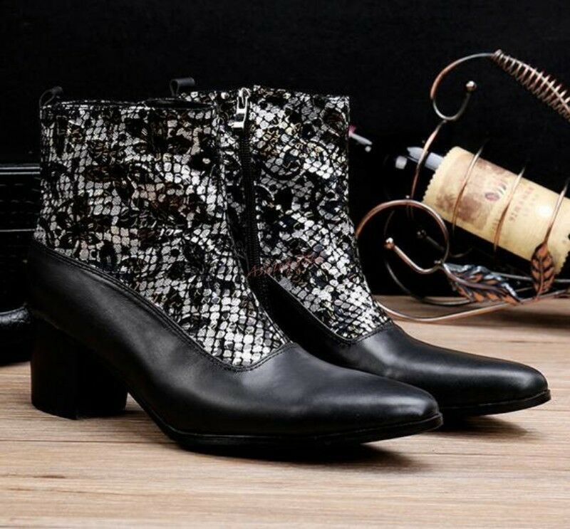 Men Ankle Boots High Top High Heel Zipper Cowboy Casual Boots Leather Fashion