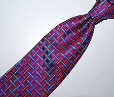 "Robert Talbott Best of Class Beautiful Mans Tie Pattern Silk Red Blue White 60"""