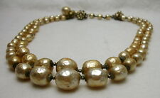 Vintage Miriam Haskell Chunky Baroque Pearl Bead 2 Strand Necklace Graduating VG
