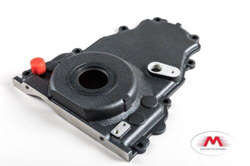 Gen 4 LS Turbo Oil Drain Timing Cover 10AN Wrinkle Black Powdercoat LSX