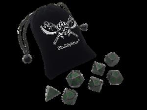 Rackne's CurseGunmetal Gray with Green Numbers Metal Dice Set (7 Die in Pack)