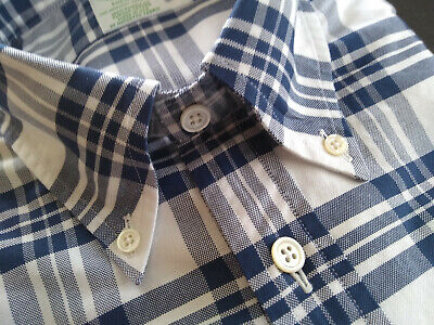 NWOT Brooks Brothers Blue Plaid Cotton Button Down M or L Milano Fit MSRP $198