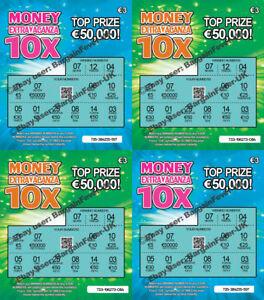 6 X Faux Blague Loterie Gratter Scratchcards Billets Euro Irlande Irish-afficher Le Titre D'origine