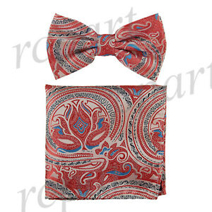 New-Men-039-s-Pre-tied-Bow-Tie-amp-hankie-set-paisley-floral-red-blue-formal-wedding