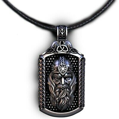 Viking god Odin Pendant Waxed Cord Pendant Necklace with Gift Pouch Norse Woden