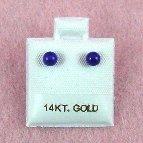 14K or jaune 4 mm LAPIS Boule Clous D/'Oreilles GE319