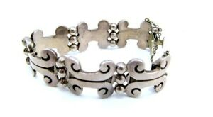 VINTAGE-SIGNED-HEAVY-MEXICAN-TASCO-TAXCO-925-STERLING-SILVER-BRACELET-72-4g