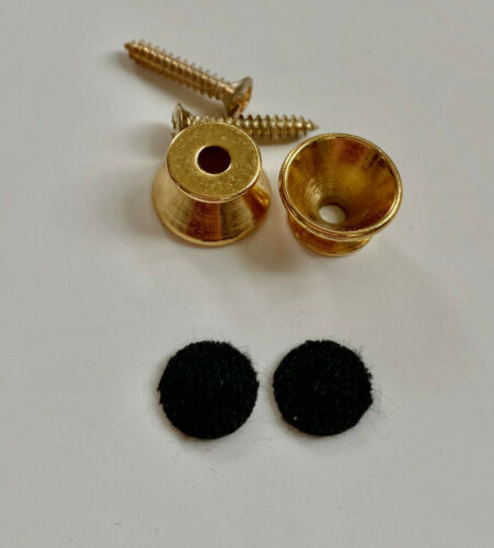 New Gold Guitar Strap Buttons Includes Black Felt Pads and Gold Screws