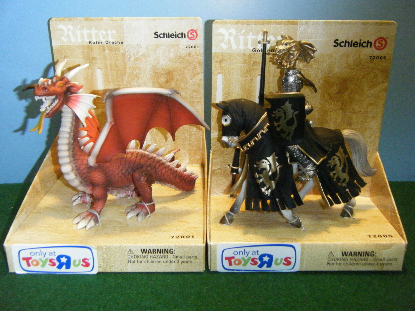 SCHLEICH RED DRAGON & gold KNIGHT LOT OF 2  NEW