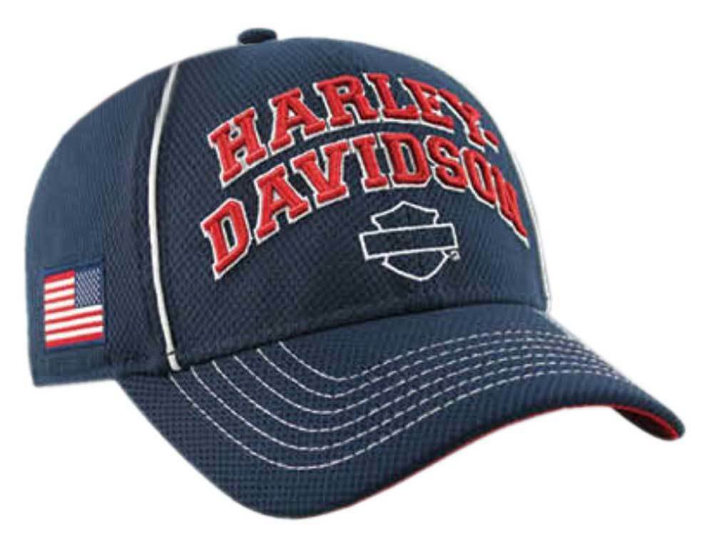 e2848e5556b1c Harley-Davidson Men s Embroidered Cap H-D Pride Baseball Cap Embroidered  Navy BCC29984 51460a
