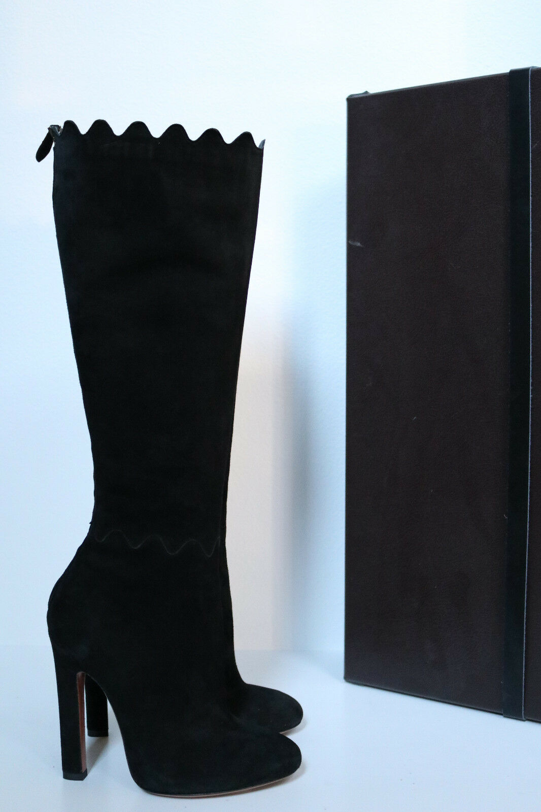 New sz 7 / 37 Azzedine Alaia Black Suede Knee High Tall Boot Heel Shoes