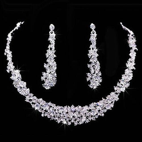 erstaunlich Mode Strass Halskette Ohrringe Schmuck-Set Hochzeit Braut Ball