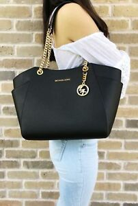 Michael-Kors-Jet-Set-Travel-Chain-Shoulder-Tote-Bag-Black-Saffiano-Leather