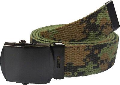 WOODLAND DIGITAL Cotton Military Web Belt with Black Buckle