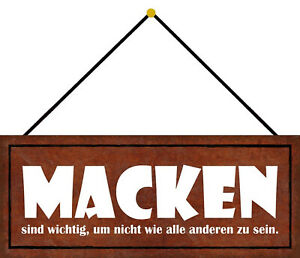 Macken Are Important Tin Sign Shield with Cord 10 X 27 CM K0765-K