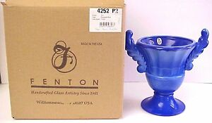 Fenton-Art-Glass-Periwinkle-Blue-Urn-2004-Historic-Collection-New-MIB