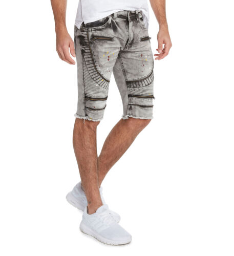 Bleecker /& Mercer Moto Ripped and Repaired Denim Jeans Shorts