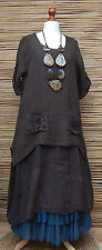 LAGENLOOK LINEN AMAZING QUIRKY 2 PCS FLORAL DRESS+OVERTOP*CHOCOLATE BROWN*SIZE L