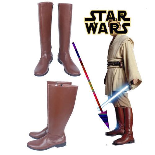 Hot! Star Wars Obi-Wan Kenobi Jedi Cosplay Shoes Long Brown Boots AA.1070