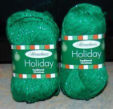 Lot of 2 Skeins Herrschners Holiday Blue Medium Christmas #4 Sparkle Yarn