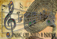 Music Poster/print/musical Notes/14x20/music Can Build A Bridge/treble Clef/jazz
