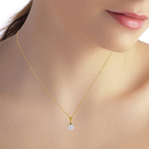 Genuine Opal Heart Gem Solitaire Pendant Necklace 14K Yellow White or Rose Gold