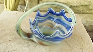 Mid-Century-cobalt-blue-Vintage-ART-GLASS-LARGE-TRUMPET-VASE-Hand-Blown-Swirl