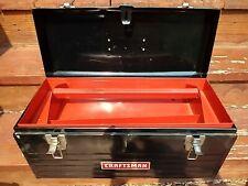 Vintage Black Metal Craftsman Tool Box With Red Tray 20 X 95 X 85